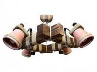 Люстра подвес из натурального дерева с керамическими плафонами KL-C4 /К/