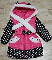 Зимняя синтепоновая куртка для девочки с опушкой из овчины