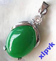 Подвеска и серьги-Green Emerald-Зеленый Жадеит-18k GP-ИНДИЯ