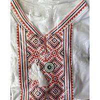 Вышиванка мужская трикотажная   белая короткий рукав оптом и в розницу, Хмельницкий