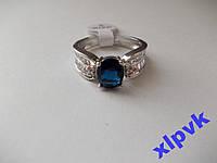 Кольцо Синий Сапфир 9х7 мм,26 белых сапфиров-18 р-925-ИНДИЯ