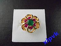 Кольцо Изумруд 8мм и 6 Роз.Рубинов-17р-375пр-ИНДИЯ