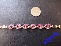 Браслет Розовые Турмалины 6х3 мм-18шт.-14kGF-ИНДИЯ