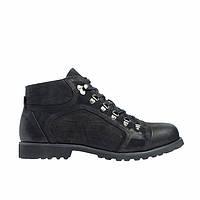 Ботинки зимние мужские из натурального нубука с натуральным мехом черные