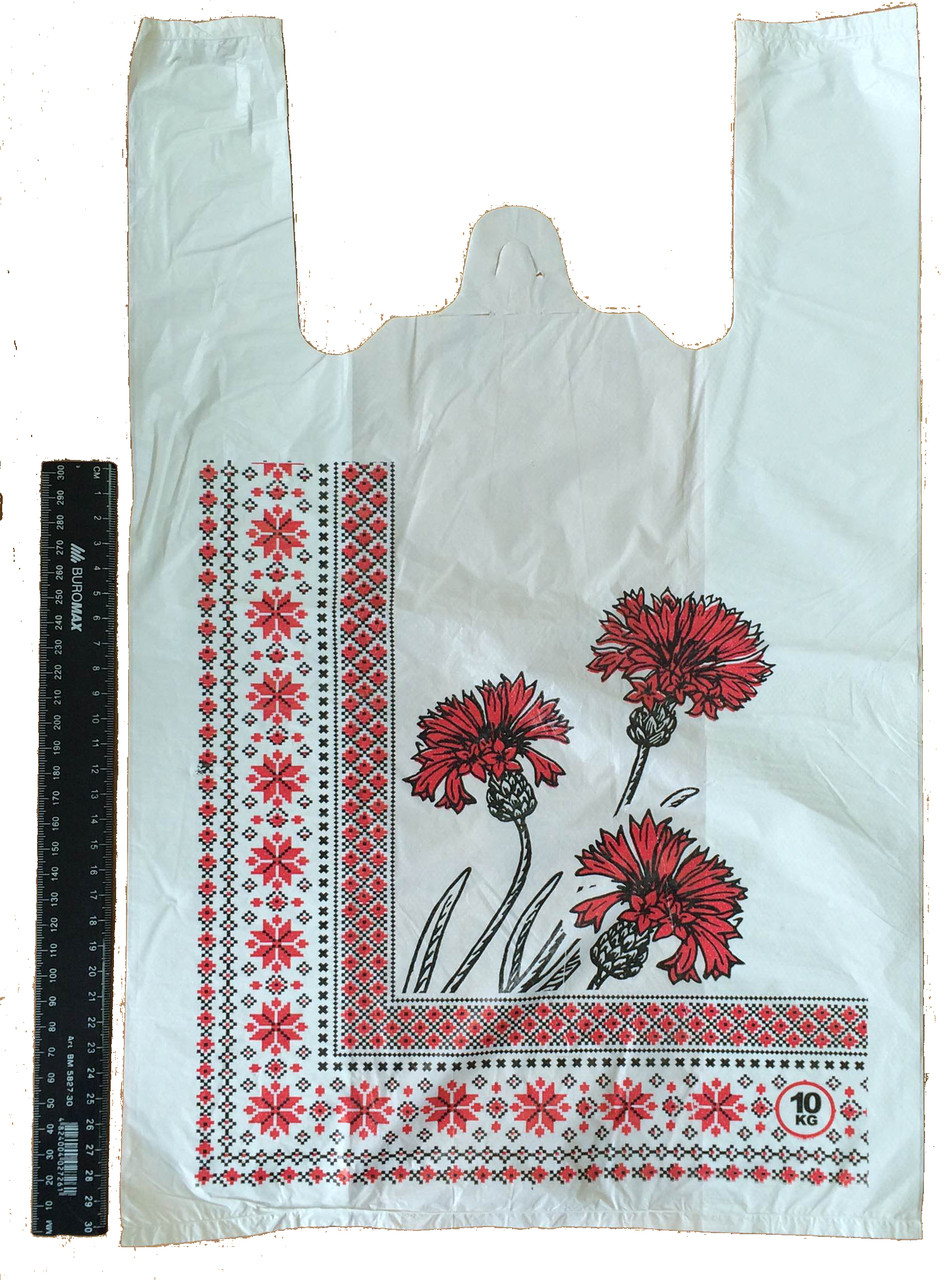 """Пакет полиэтиленовый-майка """"Вишиванка"""" 30*50 см, 2000 шт."""