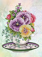 Картина бисером в рамке Идейка Анютины глазки (ВБ1055) 30 x 40 см