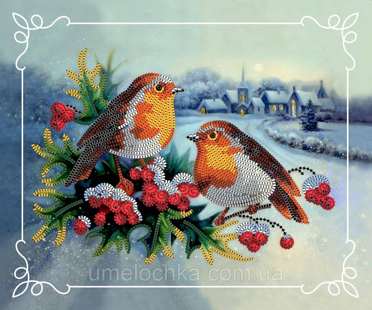 Картина бисером в рамке Идейка Снегири (ВБ2024) 20 x 24 см