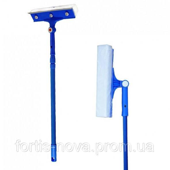 Щетка для мытья окон с поролоновой губкой, резиновой стяжкой для воды и телескопической ручкой 70-100Х24,5 см