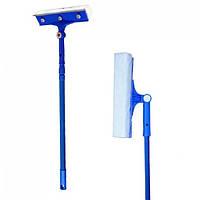 Щетка для мытья окон с поролоновой губкой, резиновой стяжкой для воды и телескопической ручкой 70-100Х24,5 см, фото 1