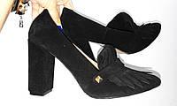 Стильные женские туфли от TroisRois с бахромой - лодочка из натурального замша Черный