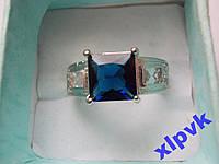 Кольцо Сапфир,Принцесса 9х9 мм-17 р-18k GP -ИНДИЯ