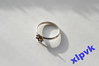 Кольцо -100% натуральный янтарь-18 р-Серебро 925-РОМАШКА-Польша