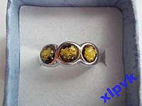 Кольцо 100% натуральный Зеленый янтарь-Три Шара -16.5р--925-Польша