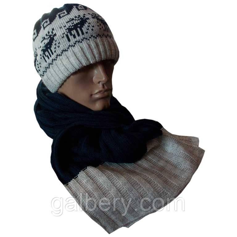 Вязаная мужская шапка и шарф - петля с норвежскими орнаментами