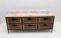 Стильный диванчик кованый на 6 ящиков в прихожую ДП1