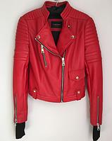Женская кожаная куртка красная