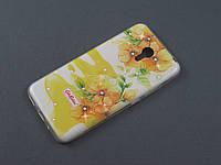 Чехол TPU Diamond для Meizu M2 Note цветочный принт желтый