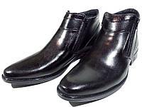 Ботинки мужские зимние  натуральная кожа черные на молнии (АВА 26)