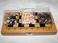 Набор: шахматы шашки нарды 24*24 см бамбук