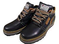 Ботинки мужские зимние  натуральная кожа черные на шнуровке (6-12-55)
