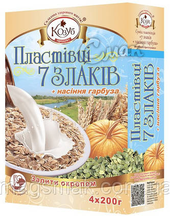 """Хлопья """"7 злаков с семенами тыквы"""", ТМ Козуб, 0.6 кг, фото 2"""
