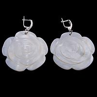 Перламутр, серебро цветочек, 057СРП серьги