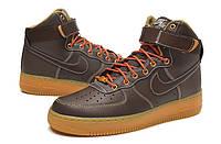 Теплые кроссовки NIKE AIR FORCE 1 '07 AF1 brown