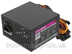 Блок питания Aerocool 600W VX600 (4713105953572), 120 mm, 20+4pin, 1x4+4pin, SATA x 4, Molex 3x4pin, 2x6+2pin, кабеля немодульные