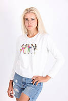 Стильный молодежный свитшот с модным рисунком в белом цвете
