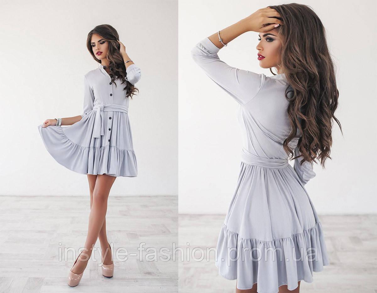Стильное женское платье клеш с поясом ткань замш цвет серый