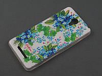 Чехол TPU Diamond для Xiaomi Redmi Note 2 Цветочный принт голубой