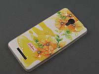 Чехол TPU Diamond для Xiaomi Redmi Note 2 Цветочный принт желтый