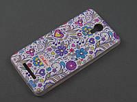 Чехол TPU Diamond для Xiaomi Redmi Note 2 Цветочный принт белый