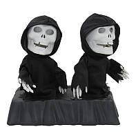 "Пара скелетов танцует под песню New Listing Animated Double Dancing Reapers 9"" Tall Singing and Dancing Change"