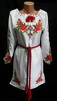 """Нарядное платье вышитое с длинным рукавом """"Розария"""", 52-56 р-ры"""