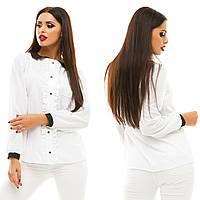 Женская модная блузка с рюшами 133 / белая