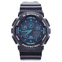 Часы мужские  G-Shock - GA-100, стальной бокс, синие с черным