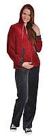 Спортивный костюм для беременных и кормящих мам велюровый с капюшоном (сирен., бордо, розов.) Бордо, 44