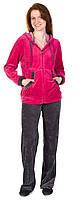 Спортивный костюм для беременных и кормящих мам велюровый с капюшоном (сирен., бордо, розов.) Розовый, 44