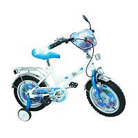 """Велосипед Самолеты 14  белый с голубым, система: """"One piece crank"""""""
