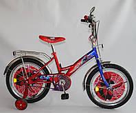 """Велосипед Спайдермен 14 синий с красным, система: """"One piece crank"""""""