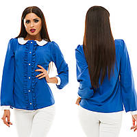 Женская модная блузка с рюшами 133 / электрик