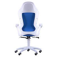 Кресло Racer кожзам синий, каркас белый