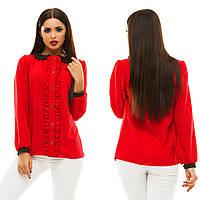 Женская модная блузка с рюшами 133 / красная