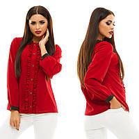 Женская модная блузка с рюшами 133 / бордо