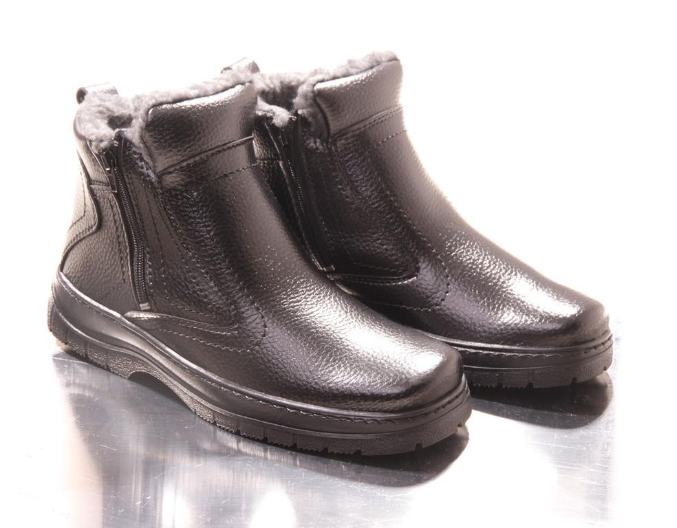 Мужские зимние ботинки. Иск. кожа