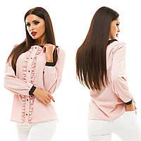 Женская модная блузка с рюшами 133 / пудра
