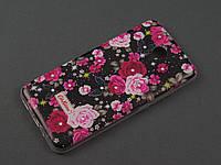 Чехол TPU Diamond для Meizu M2 Note цветочный принт черный