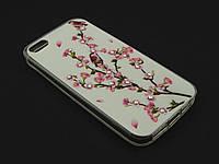 Чехол Diamond TPU  для Apple iPhone SE 5 5S Цветочный принт Сакура