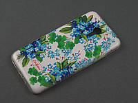 Чехол TPU Diamond для Meizu M2 Note цветочный принт голубой